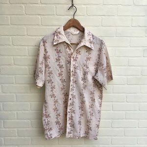 Vintage Floral Men's Button Up Shirt